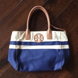 Tory Burch small tote blue and white